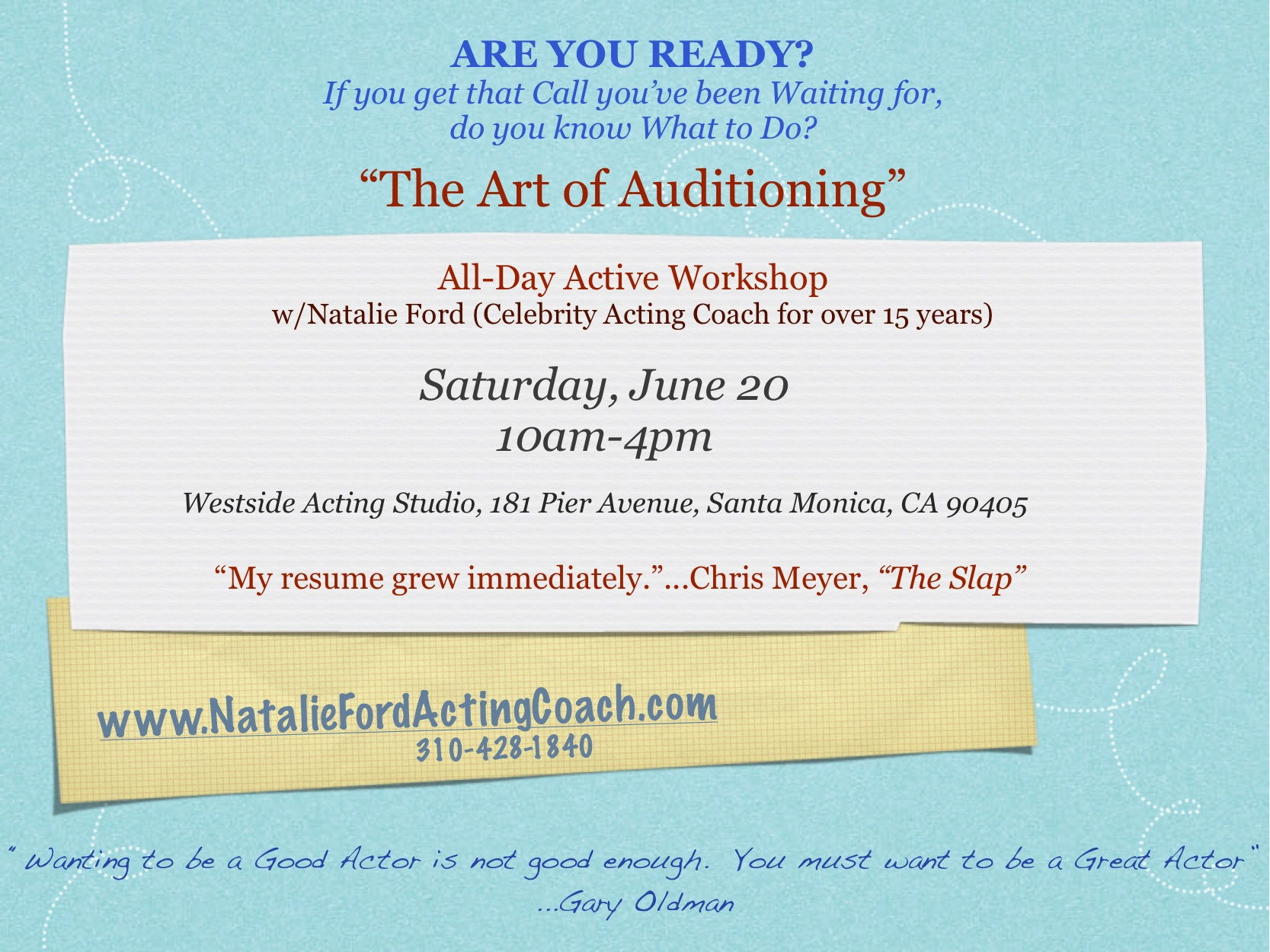 THE ART OF AUDITIONING On Camera Audition Workshop